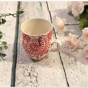 3/$25 Anthro Monogram F coffee Mug Red Floral Boho